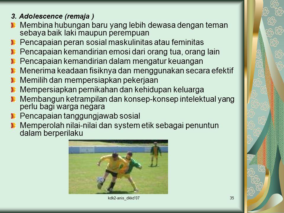 kdk2-anis_dkkd'0735 3. Adolescence (remaja ) Membina hubungan baru yang lebih dewasa dengan teman sebaya baik laki maupun perempuan Pencapaian peran s