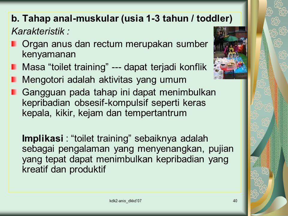 """kdk2-anis_dkkd'0740 b. Tahap anal-muskular (usia 1-3 tahun / toddler) Karakteristik : Organ anus dan rectum merupakan sumber kenyamanan Masa """"toilet t"""