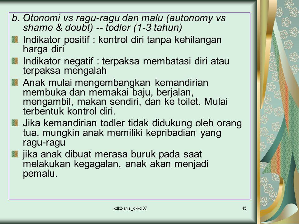 kdk2-anis_dkkd'0745 b. Otonomi vs ragu-ragu dan malu (autonomy vs shame & doubt) -- todler (1-3 tahun) Indikator positif : kontrol diri tanpa kehilang