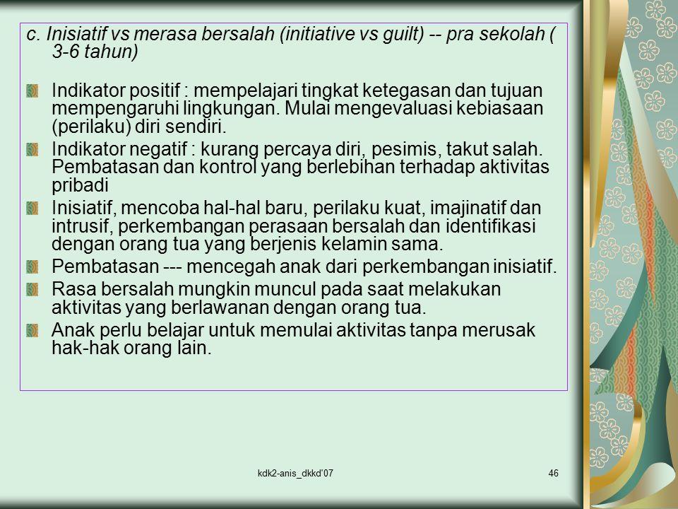 kdk2-anis_dkkd'0746 c. Inisiatif vs merasa bersalah (initiative vs guilt) -- pra sekolah ( 3-6 tahun) Indikator positif : mempelajari tingkat ketegasa