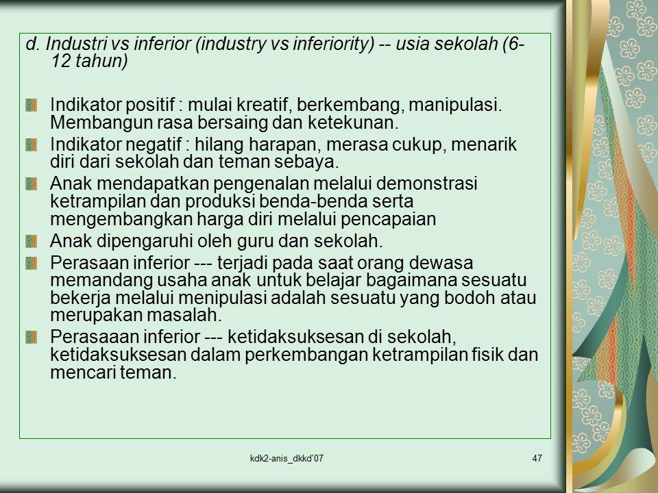 kdk2-anis_dkkd'0747 d. Industri vs inferior (industry vs inferiority) -- usia sekolah (6- 12 tahun) Indikator positif : mulai kreatif, berkembang, man