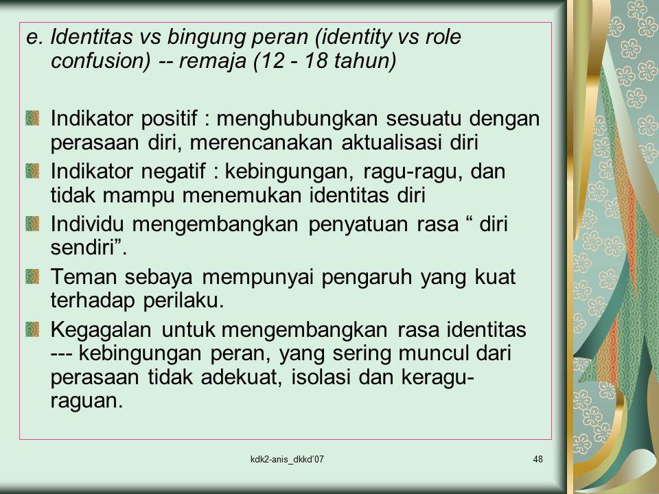 kdk2-anis_dkkd'0748 e. Identitas vs bingung peran (identity vs role confusion) -- remaja (12 - 18 tahun) Indikator positif : menghubungkan sesuatu den