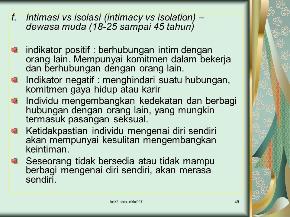 kdk2-anis_dkkd'0749 f.Intimasi vs isolasi (intimacy vs isolation) – dewasa muda (18-25 sampai 45 tahun) indikator positif : berhubungan intim dengan o