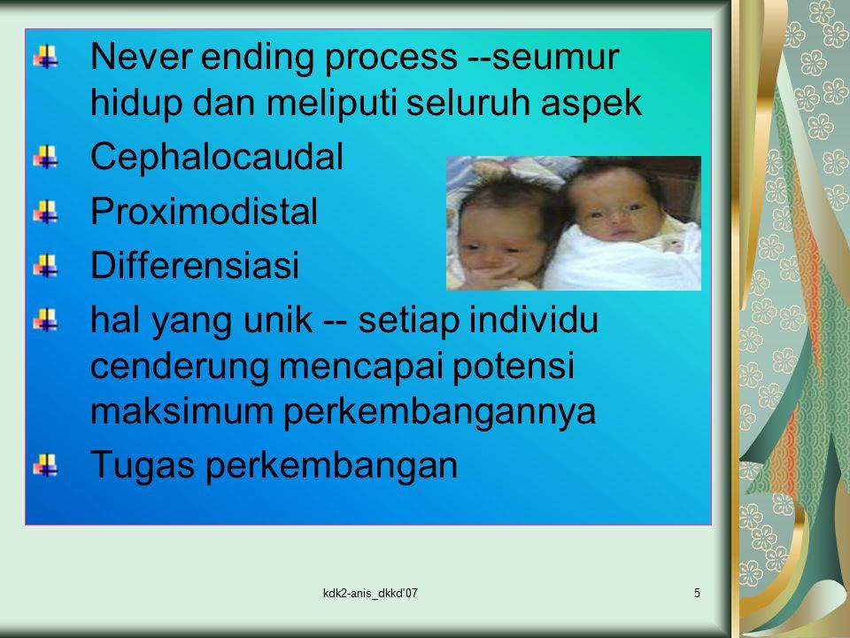 kdk2-anis_dkkd'075 Never ending process --seumur hidup dan meliputi seluruh aspek Cephalocaudal Proximodistal Differensiasi hal yang unik -- setiap in