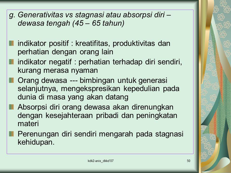kdk2-anis_dkkd'0750 g. Generativitas vs stagnasi atau absorpsi diri – dewasa tengah (45 – 65 tahun) indikator positif : kreatifitas, produktivitas dan