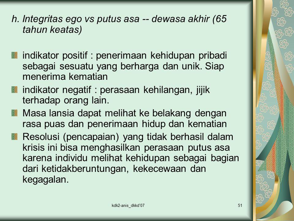 kdk2-anis_dkkd'0751 h. Integritas ego vs putus asa -- dewasa akhir (65 tahun keatas) indikator positif : penerimaan kehidupan pribadi sebagai sesuatu