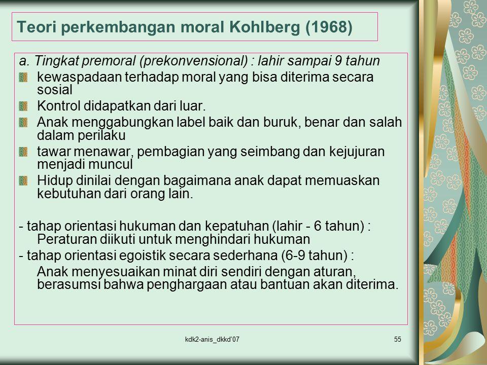 kdk2-anis_dkkd'0755 Teori perkembangan moral Kohlberg (1968) a. Tingkat premoral (prekonvensional) : lahir sampai 9 tahun kewaspadaan terhadap moral y