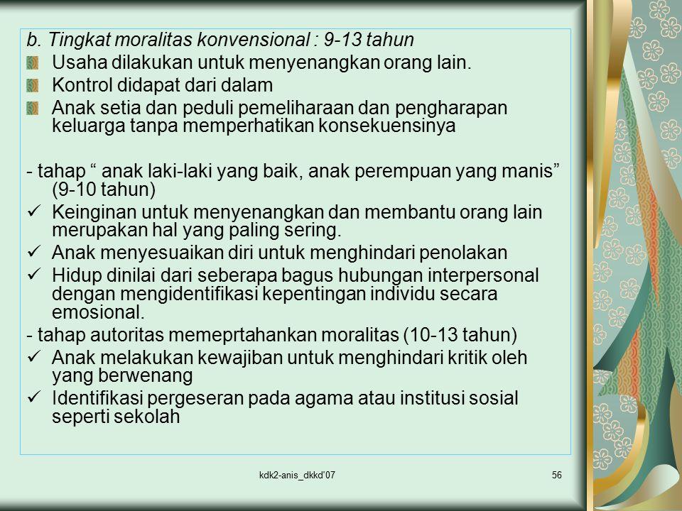 kdk2-anis_dkkd'0756 b. Tingkat moralitas konvensional : 9-13 tahun Usaha dilakukan untuk menyenangkan orang lain. Kontrol didapat dari dalam Anak seti