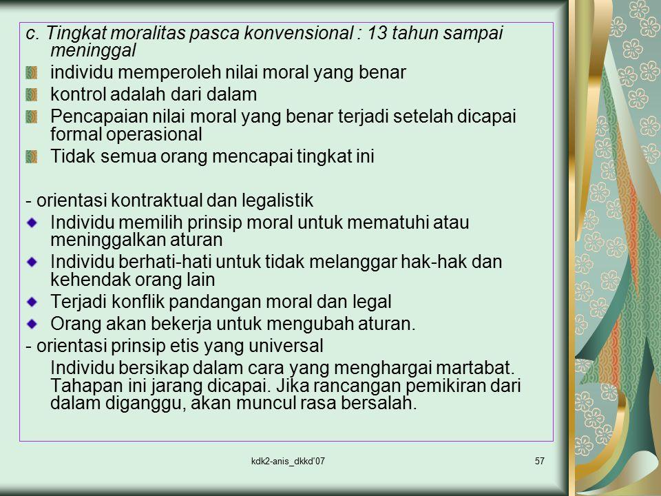 kdk2-anis_dkkd'0757 c. Tingkat moralitas pasca konvensional : 13 tahun sampai meninggal individu memperoleh nilai moral yang benar kontrol adalah dari