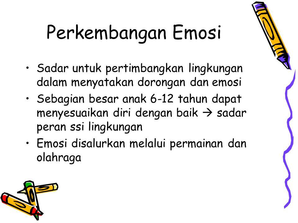 Perkembangan Emosi Sadar untuk pertimbangkan lingkungan dalam menyatakan dorongan dan emosi Sebagian besar anak 6-12 tahun dapat menyesuaikan diri dengan baik  sadar peran ssi lingkungan Emosi disalurkan melalui permainan dan olahraga