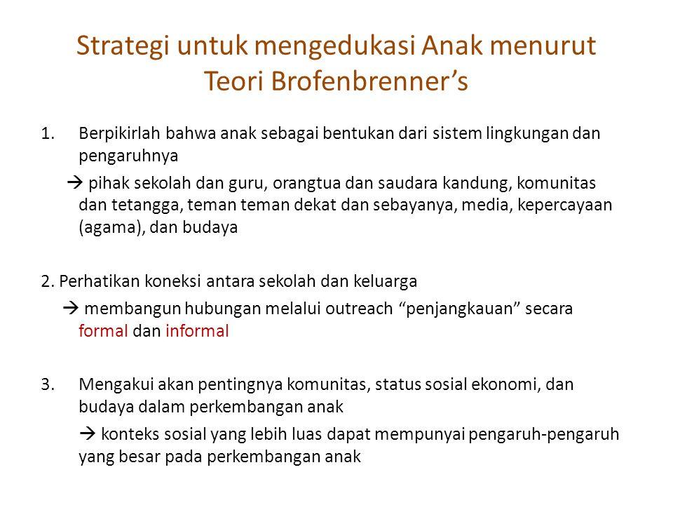 Strategi untuk mengedukasi Anak menurut Teori Brofenbrenner's 1.Berpikirlah bahwa anak sebagai bentukan dari sistem lingkungan dan pengaruhnya  pihak
