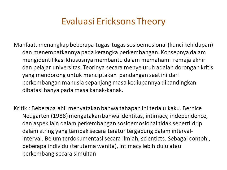 Evaluasi Ericksons Theory Manfaat: menangkap beberapa tugas-tugas sosioemosional (kunci kehidupan) dan menempatkannya pada kerangka perkembangan. Kons