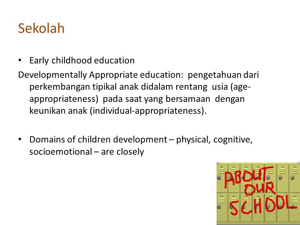 Sekolah Early childhood education Developmentally Appropriate education: pengetahuan dari perkembangan tipikal anak didalam rentang usia (age- appropr