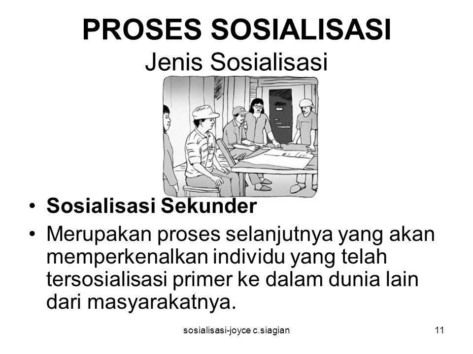 sosialisasi-joyce c.siagian11 PROSES SOSIALISASI Jenis Sosialisasi Sosialisasi Sekunder Merupakan proses selanjutnya yang akan memperkenalkan individu yang telah tersosialisasi primer ke dalam dunia lain dari masyarakatnya.