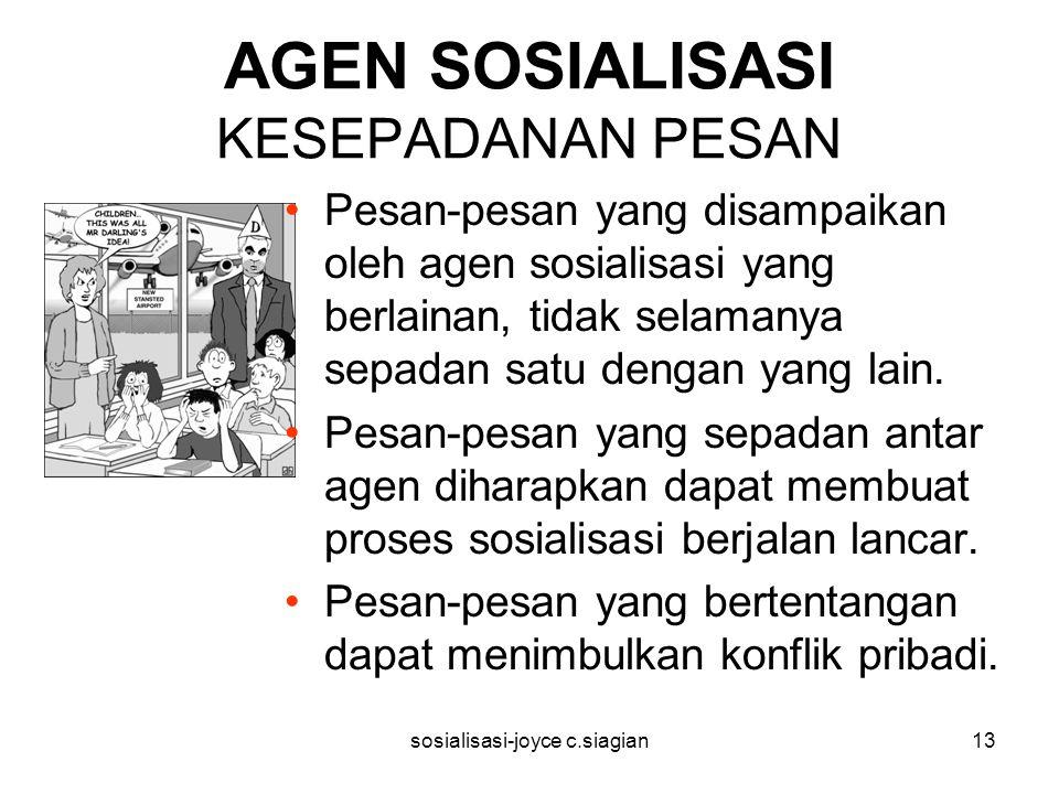 sosialisasi-joyce c.siagian13 AGEN SOSIALISASI KESEPADANAN PESAN Pesan-pesan yang disampaikan oleh agen sosialisasi yang berlainan, tidak selamanya sepadan satu dengan yang lain.