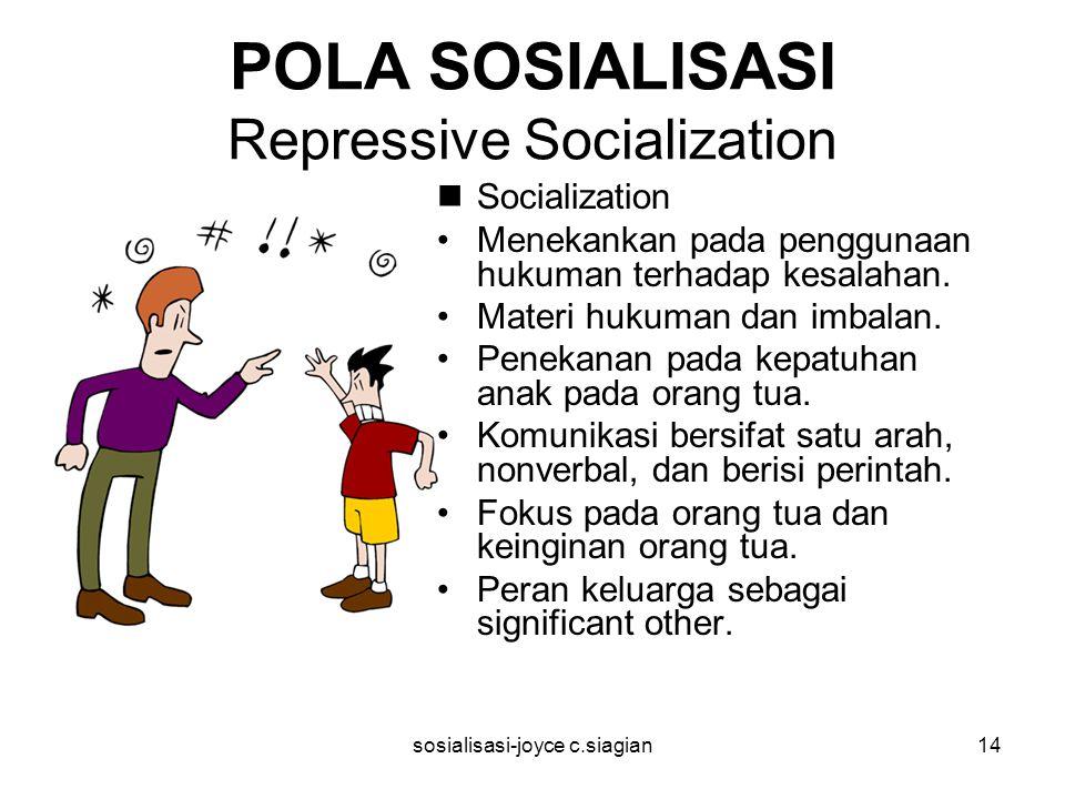 sosialisasi-joyce c.siagian14 POLA SOSIALISASI Repressive Socialization Socialization Menekankan pada penggunaan hukuman terhadap kesalahan. Materi hu