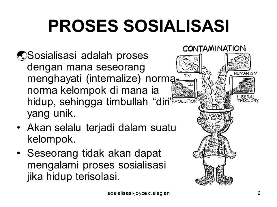 sosialisasi-joyce c.siagian2 PROSES SOSIALISASI  Sosialisasi adalah proses dengan mana seseorang menghayati (internalize) norma- norma kelompok di mana ia hidup, sehingga timbullah diri yang unik.