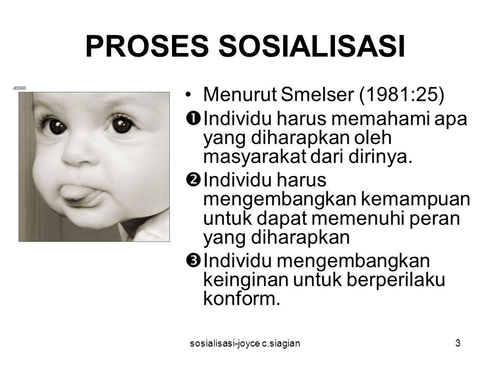 sosialisasi-joyce c.siagian3 PROSES SOSIALISASI Menurut Smelser (1981:25)  Individu harus memahami apa yang diharapkan oleh masyarakat dari dirinya.