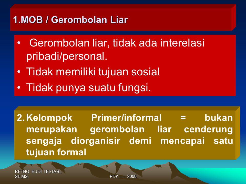 RETNO BUDI LESTARI, SE,MSiPDK-------2008 1.MOB / Gerombolan Liar Gerombolan liar, tidak ada interelasi pribadi/personal.