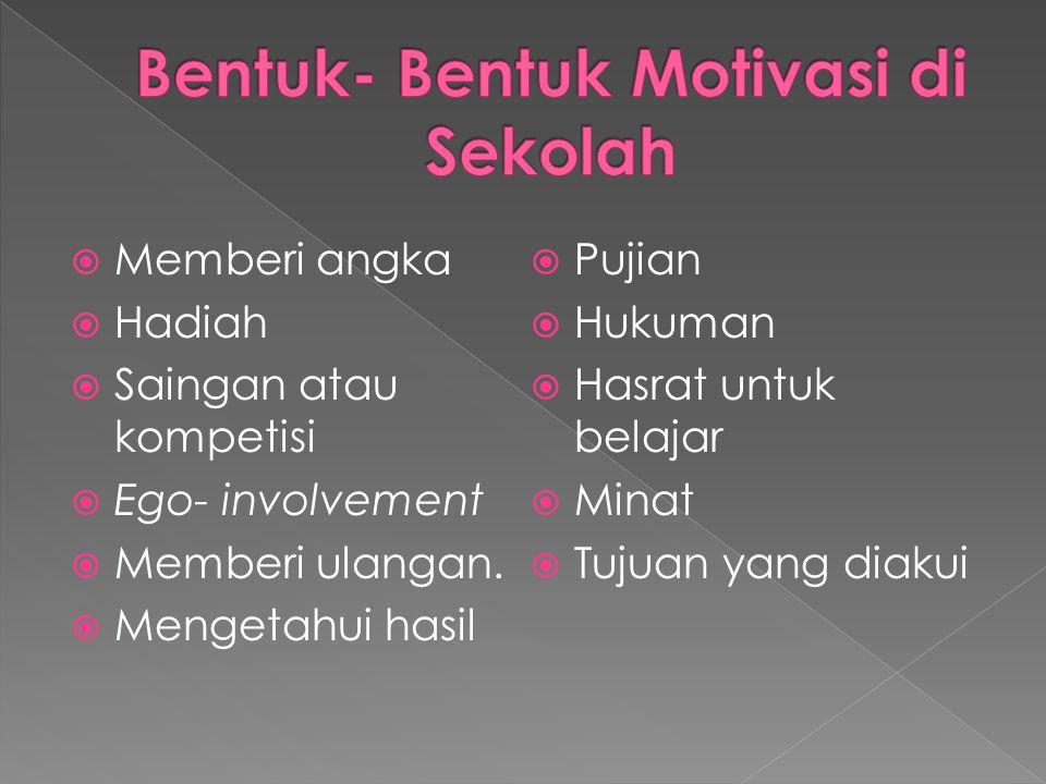  Bagi remaja sekolah tingkat pertama motivasi afiliasi, untuk diterima sebagai teman sebaya dalam belajar sangat menonjol.