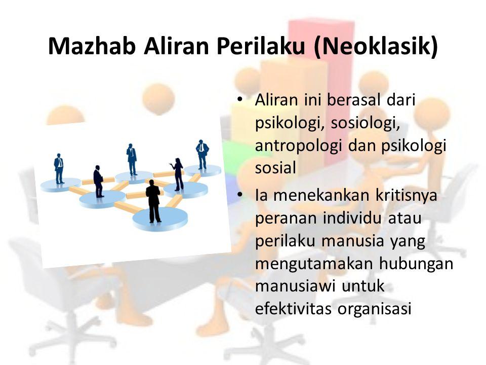 Mazhab Aliran Perilaku (Neoklasik) Aliran ini berasal dari psikologi, sosiologi, antropologi dan psikologi sosial Ia menekankan kritisnya peranan indi