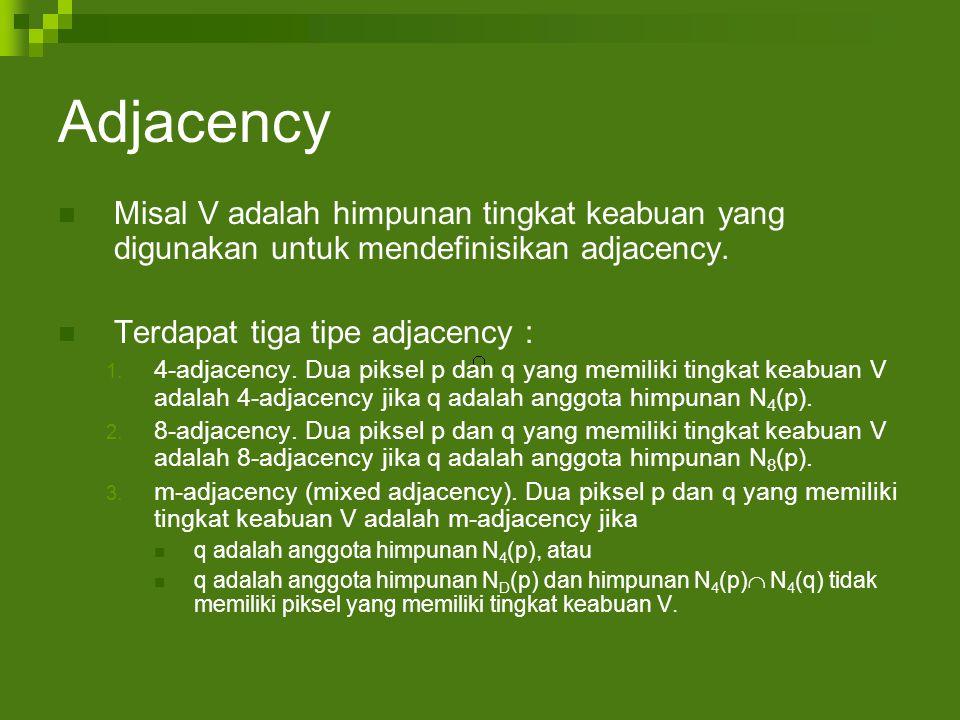 Adjacency Misal V adalah himpunan tingkat keabuan yang digunakan untuk mendefinisikan adjacency.