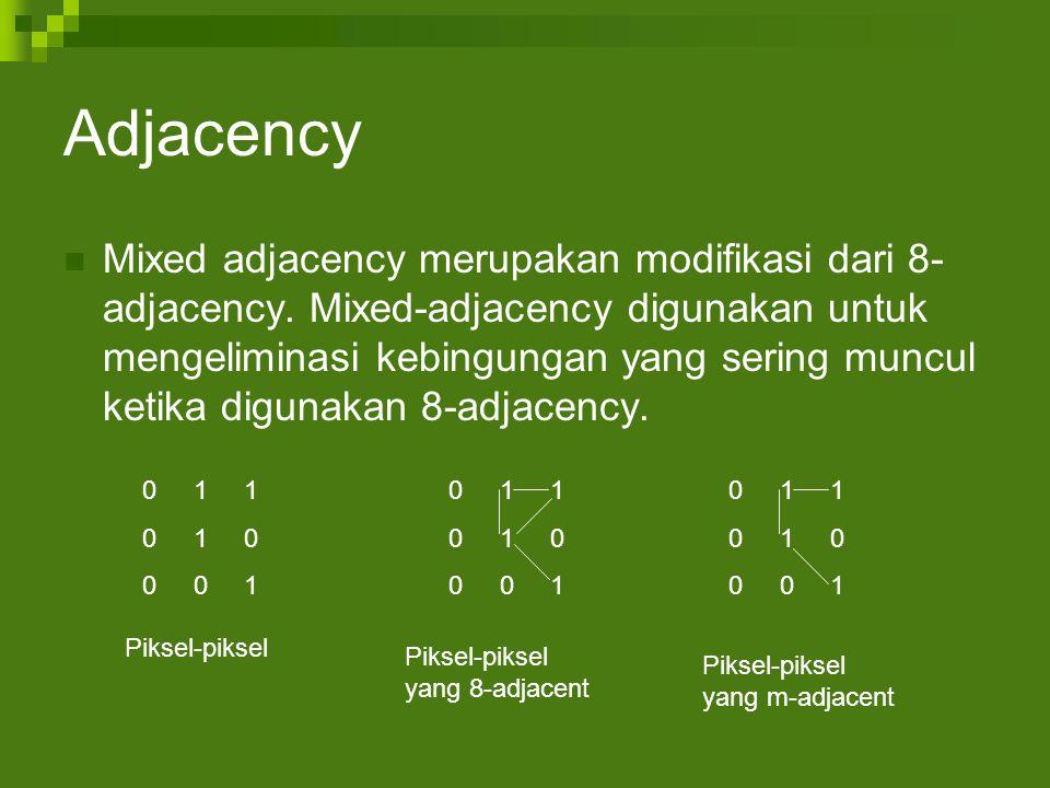 Adjacency Mixed adjacency merupakan modifikasi dari 8- adjacency.