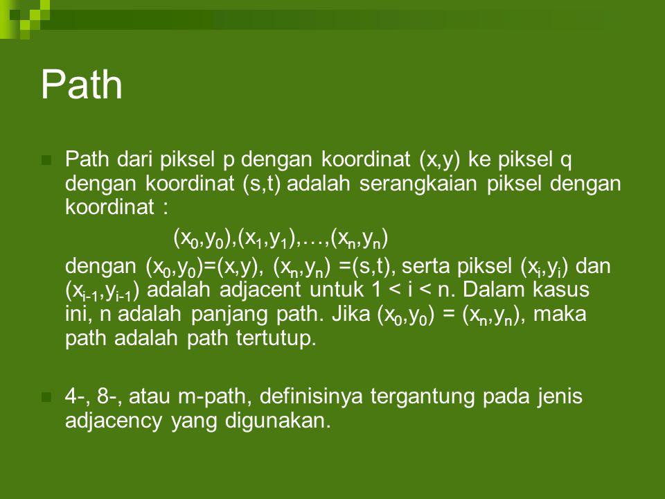 Path Path dari piksel p dengan koordinat (x,y) ke piksel q dengan koordinat (s,t) adalah serangkaian piksel dengan koordinat : (x 0,y 0 ),(x 1,y 1 ),…,(x n,y n ) dengan (x 0,y 0 )=(x,y), (x n,y n ) =(s,t), serta piksel (x i,y i ) dan (x i-1,y i-1 ) adalah adjacent untuk 1 < i < n.