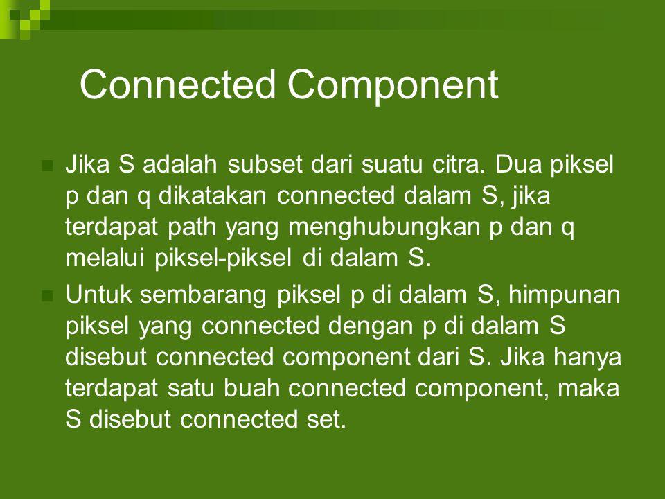Connected Component Jika S adalah subset dari suatu citra.
