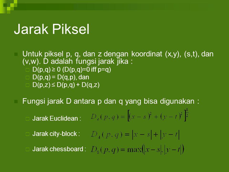 Jarak Piksel Untuk piksel p, q, dan z dengan koordinat (x,y), (s,t), dan (v,w).