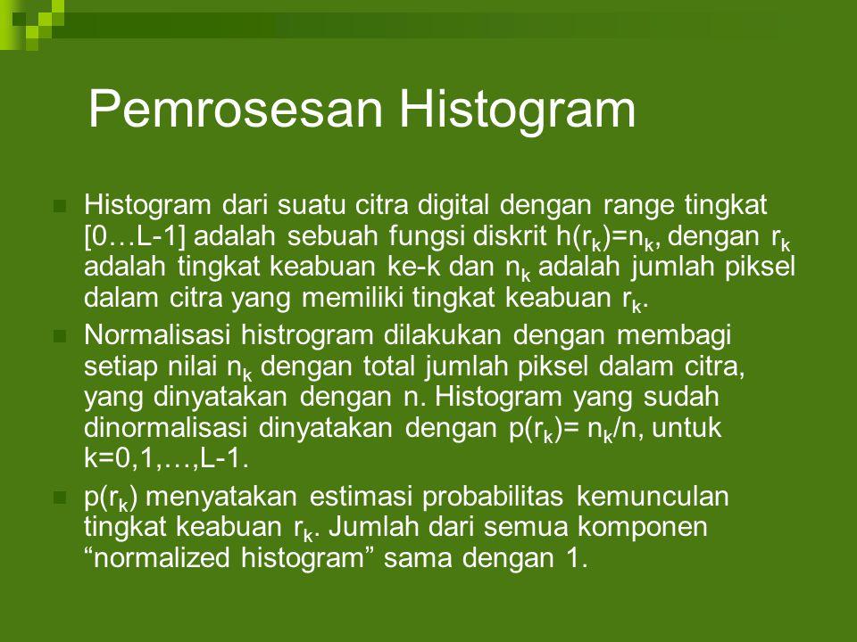 Pemrosesan Histogram Histogram dari suatu citra digital dengan range tingkat [0…L-1] adalah sebuah fungsi diskrit h(r k )=n k, dengan r k adalah tingkat keabuan ke-k dan n k adalah jumlah piksel dalam citra yang memiliki tingkat keabuan r k.