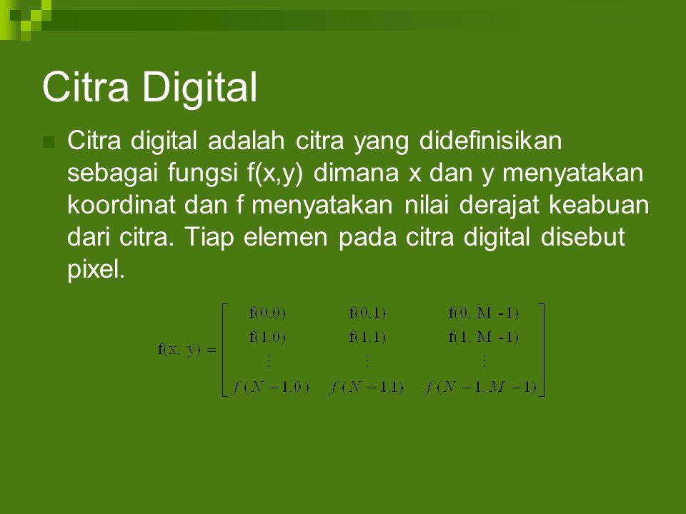 Citra Digital Citra digital adalah citra yang didefinisikan sebagai fungsi f(x,y) dimana x dan y menyatakan koordinat dan f menyatakan nilai derajat keabuan dari citra.