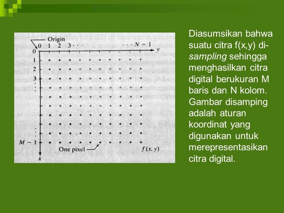 Diasumsikan bahwa suatu citra f(x,y) di- sampling sehingga menghasilkan citra digital berukuran M baris dan N kolom.