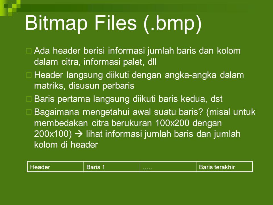 Bitmap Files (.bmp)  Ada header berisi informasi jumlah baris dan kolom dalam citra, informasi palet, dll  Header langsung diikuti dengan angka-angka dalam matriks, disusun perbaris  Baris pertama langsung diikuti baris kedua, dst  Bagaimana mengetahui awal suatu baris.