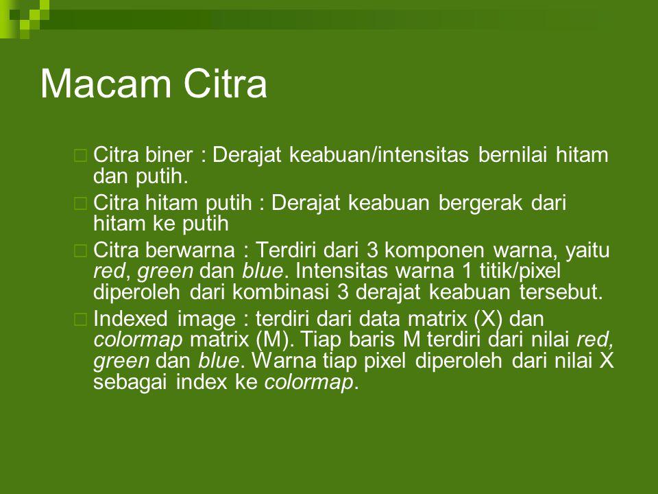 Macam Citra  Citra biner : Derajat keabuan/intensitas bernilai hitam dan putih.