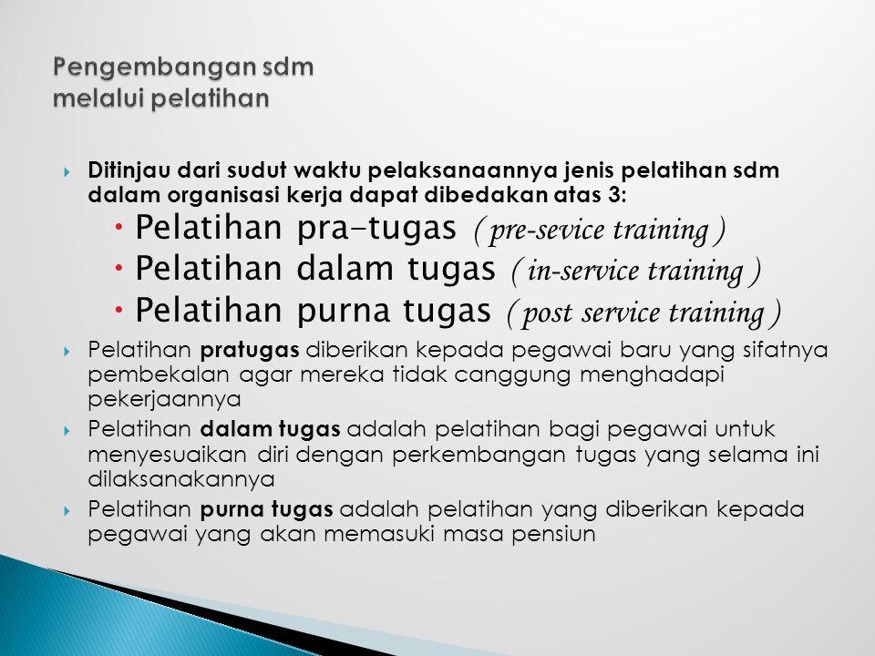  Ditinjau dari sudut waktu pelaksanaannya jenis pelatihan sdm dalam organisasi kerja dapat dibedakan atas 3:  Pelatihan pra-tugas ( pre-sevice train