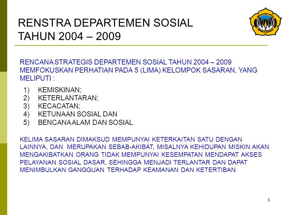 5 RENCANA STRATEGIS DEPARTEMEN SOSIAL TAHUN 2004 – 2009 MEMFOKUSKAN PERHATIAN PADA 5 (LIMA) KELOMPOK SASARAN, YANG MELIPUTI : 1)KEMISKINAN; 2)KETERLAN