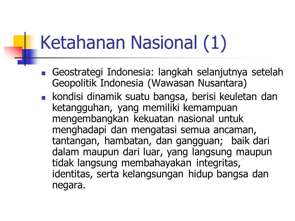 Ketahanan Nasional (1) Geostrategi Indonesia: langkah selanjutnya setelah Geopolitik Indonesia (Wawasan Nusantara) kondisi dinamik suatu bangsa, beris