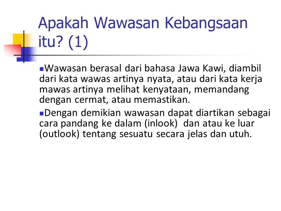 Apakah Wawasan Kebangsaan itu? (1) Wawasan berasal dari bahasa Jawa Kawi, diambil dari kata wawas artinya nyata, atau dari kata kerja mawas artinya me