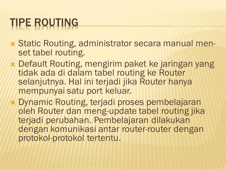  Static Routing, administrator secara manual men- set tabel routing.  Default Routing, mengirim paket ke jaringan yang tidak ada di dalam tabel rout