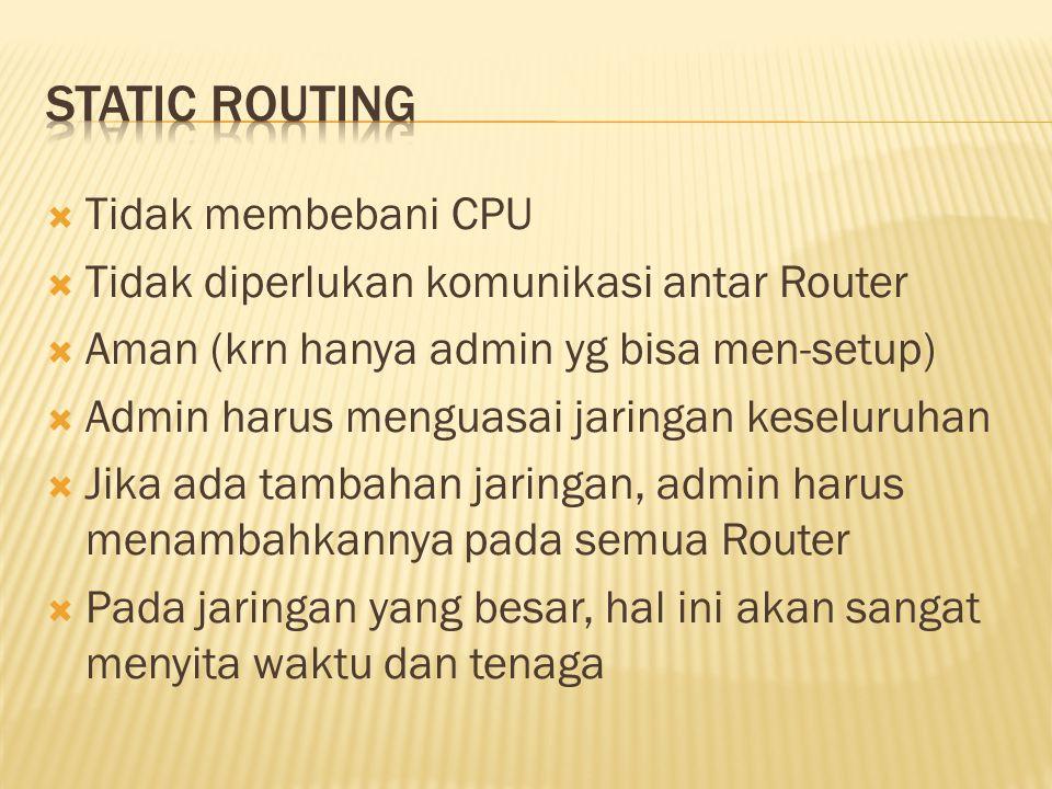  Tidak membebani CPU  Tidak diperlukan komunikasi antar Router  Aman (krn hanya admin yg bisa men-setup)  Admin harus menguasai jaringan keseluruh