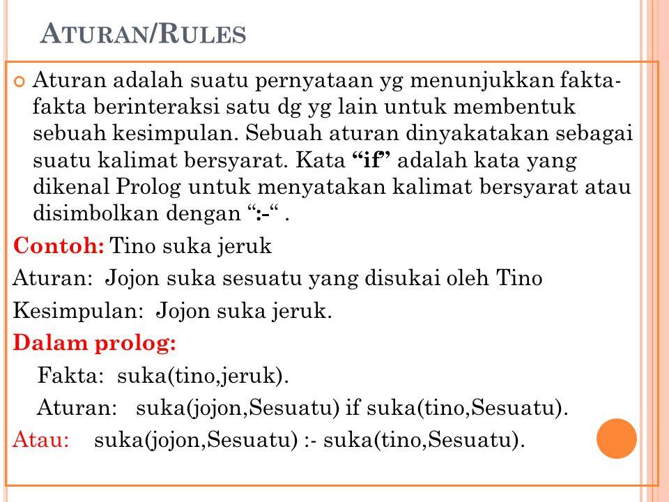 A TURAN /R ULES Aturan adalah suatu pernyataan yg menunjukkan fakta- fakta berinteraksi satu dg yg lain untuk membentuk sebuah kesimpulan. Sebuah atur
