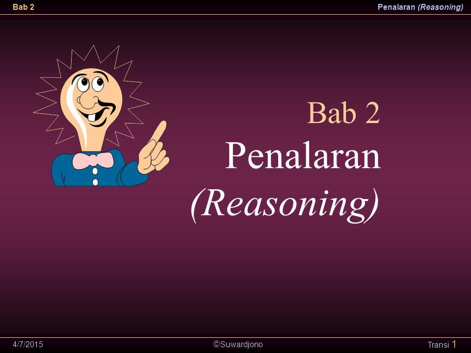  Suwardjono Bab 2Penalaran (Reasoning) 4/7/2015 Transi 22 Argumen Induktif Argumen yang simpulannya merupakan perampatan atau generalisasi dari keadaan atau pengamatan khusus sebagai premis.