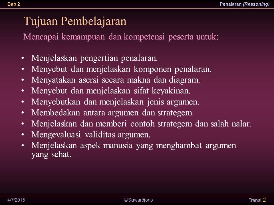  Suwardjono Bab 2Penalaran (Reasoning) 4/7/2015 Transi 3 Proses berpikir logis dan sistematis untuk membentuk dan mengevaluasi suatu keyakinan terhadap suatu pernyataan atau asersi.