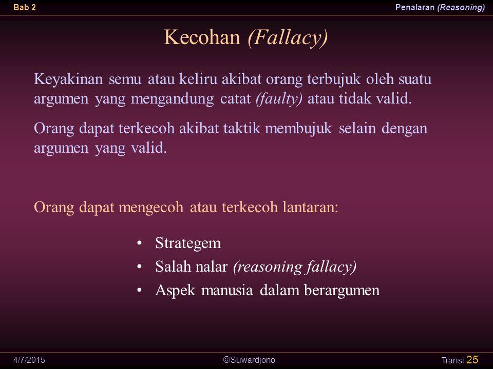  Suwardjono Bab 2Penalaran (Reasoning) 4/7/2015 Transi 25 Kecohan (Fallacy) Strategem Salah nalar (reasoning fallacy) Aspek manusia dalam berargumen