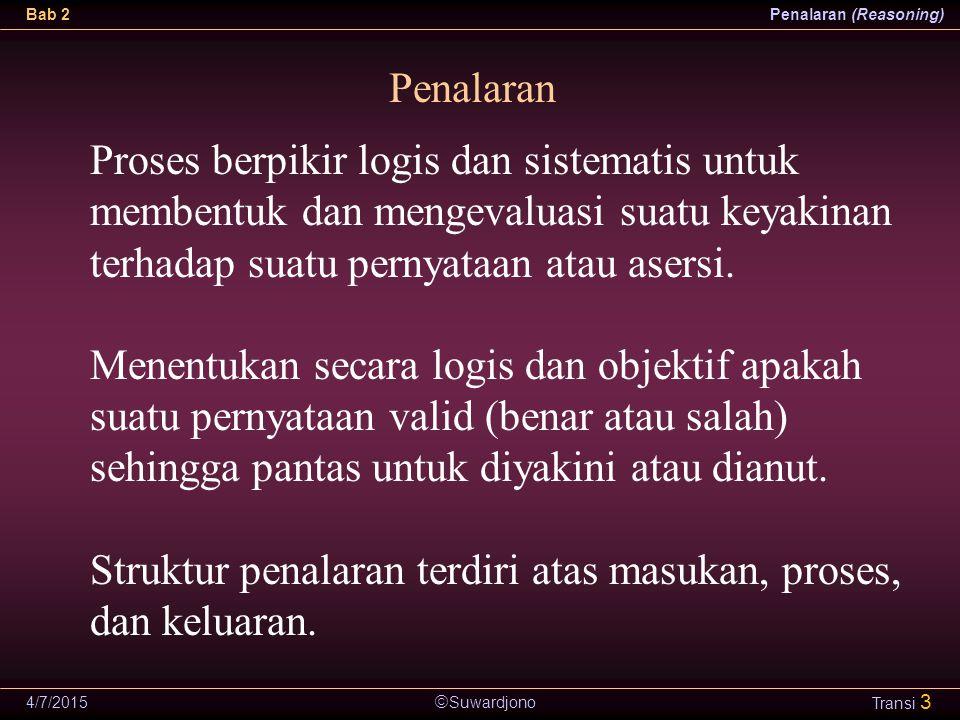  Suwardjono Bab 2Penalaran (Reasoning) 4/7/2015 Transi 24 Argumen Sebab-Akibat (Causal Generalization) Argumen untuk mendukung bahwa perubahan faktor tertentu disebabkan oleh faktor yang lain.