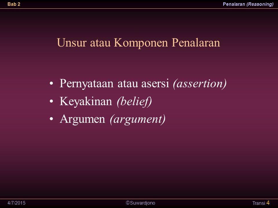  Suwardjono Bab 2Penalaran (Reasoning) 4/7/2015 Transi 4 Unsur atau Komponen Penalaran Pernyataan atau asersi (assertion) Keyakinan (belief) Argumen