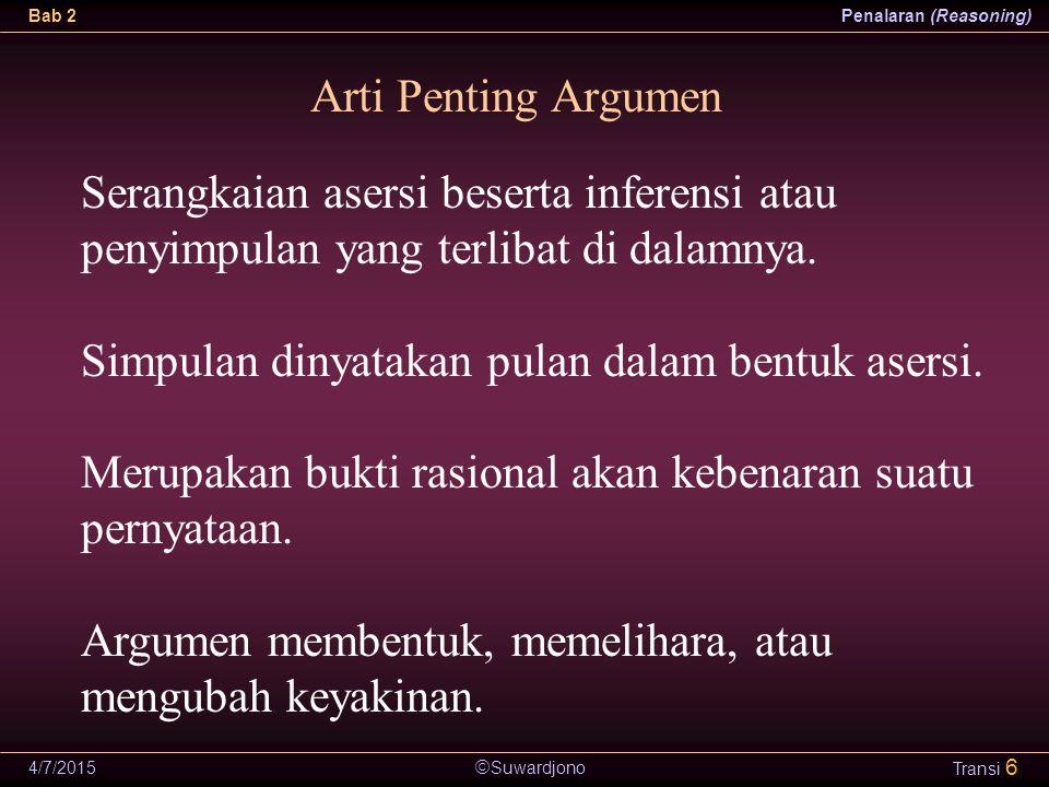  Suwardjono Bab 2Penalaran (Reasoning) 4/7/2015 Transi 17 Indikator Argumen Dalam suatu argumen atau penalaran yang kompleks, tidak selalu mudah untuk mengenali premis dan konklusi.