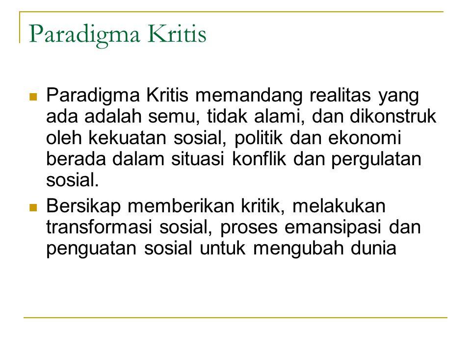 Paradigma Kritis Paradigma Kritis memandang realitas yang ada adalah semu, tidak alami, dan dikonstruk oleh kekuatan sosial, politik dan ekonomi berad