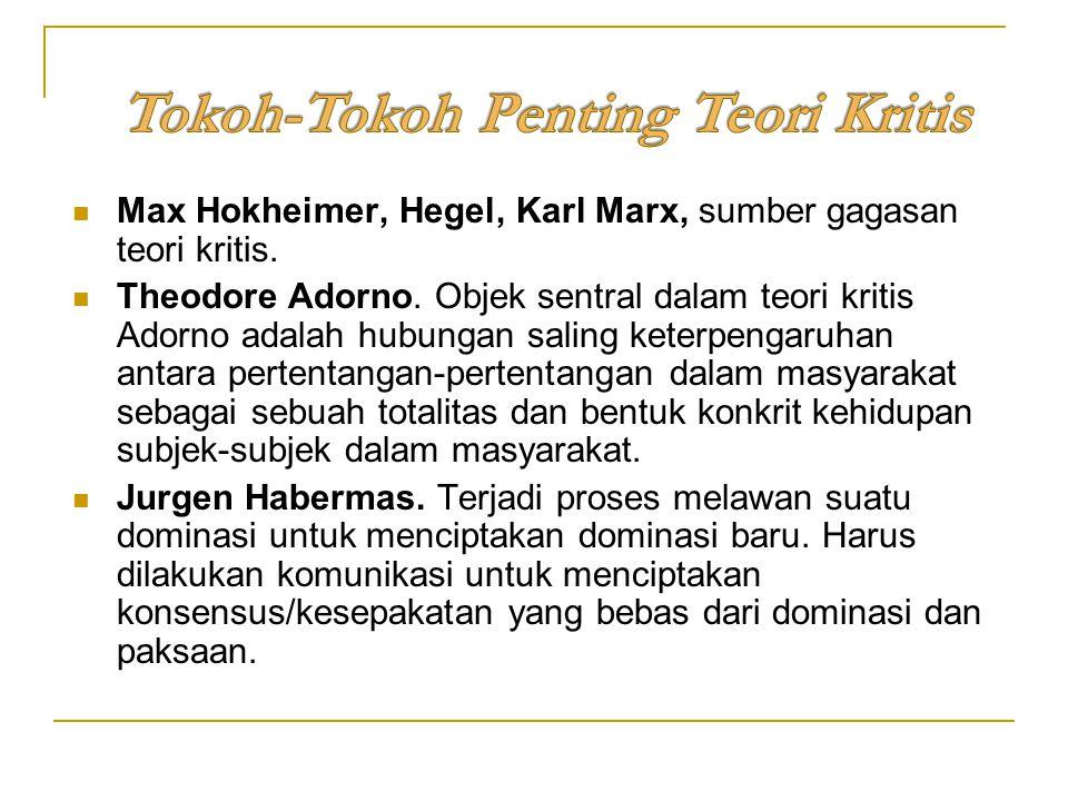 Max Hokheimer, Hegel, Karl Marx, sumber gagasan teori kritis. Theodore Adorno. Objek sentral dalam teori kritis Adorno adalah hubungan saling keterpen